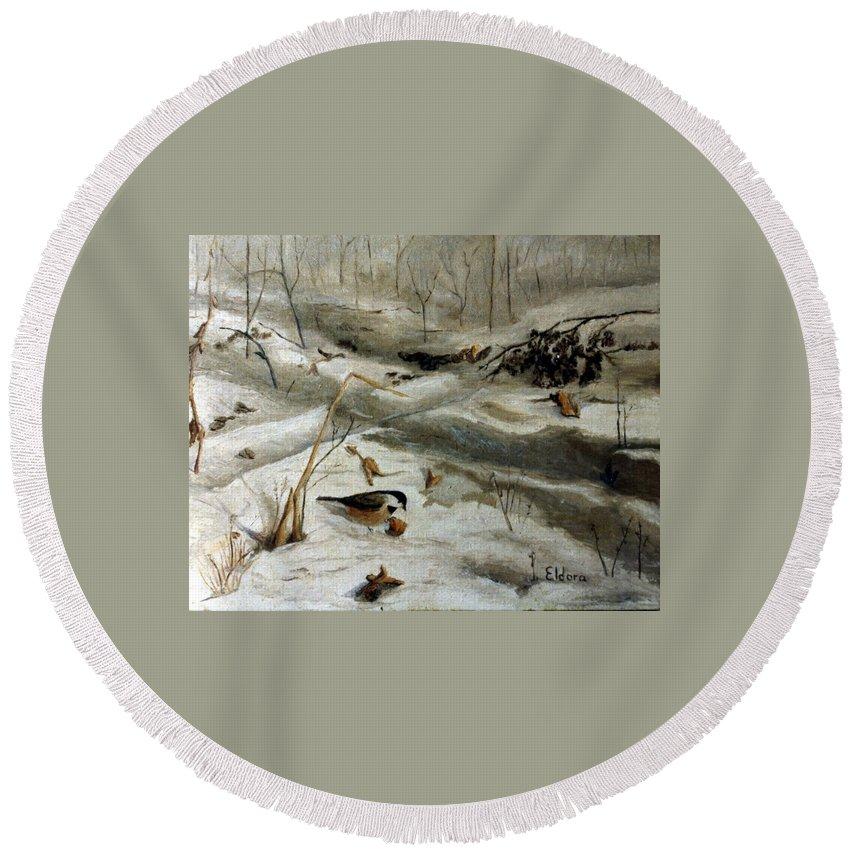 Nature Round Beach Towel featuring the painting Chickadees by Eldora Schober Larson