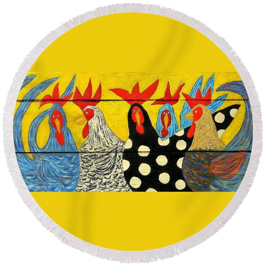 Chicken Round Beach Towel featuring the painting Chicken Posse by John Blake