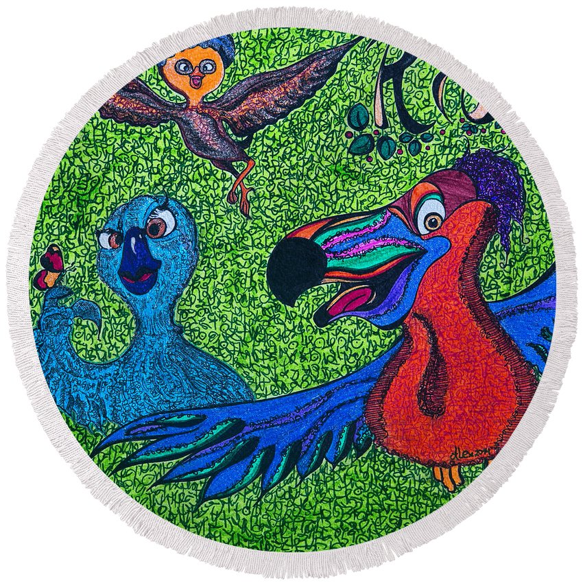Rio 2 Round Beach Towel featuring the painting Chicks by Alex Art and Photo