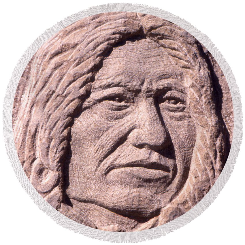 American Indians Round Beach Towel featuring the sculpture Chief-spotted-tail by Gordon Punt