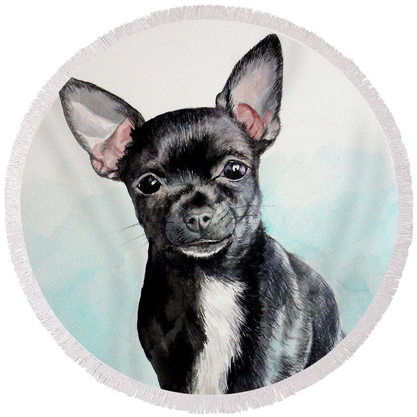 Dog Round Beach Towel featuring the painting Chihuahua Black by Christopher Shellhammer