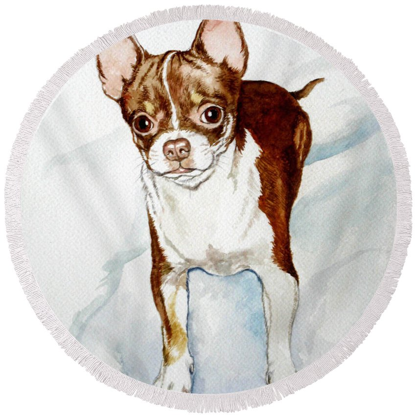Dog Round Beach Towel featuring the painting Chihuahua White Chocolate Color. by Christopher Shellhammer