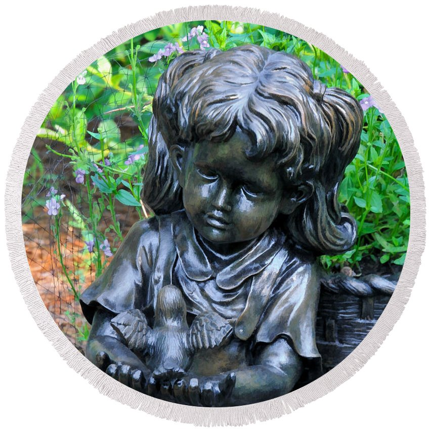 Statute Round Beach Towel featuring the photograph Child And Dove by Ginger Wakem