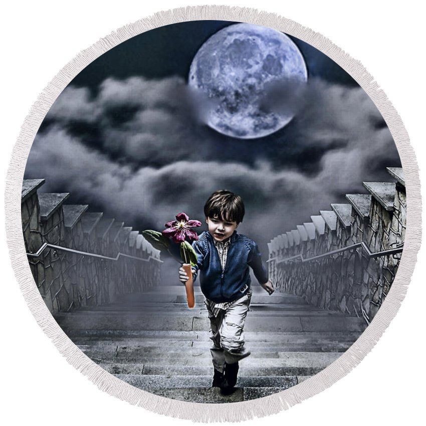 Boy Round Beach Towel featuring the photograph Child Of The Moon by Joachim G Pinkawa