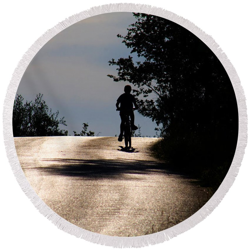 Child Round Beach Towel featuring the photograph Child On Bicycle, Italy by Tim Holt