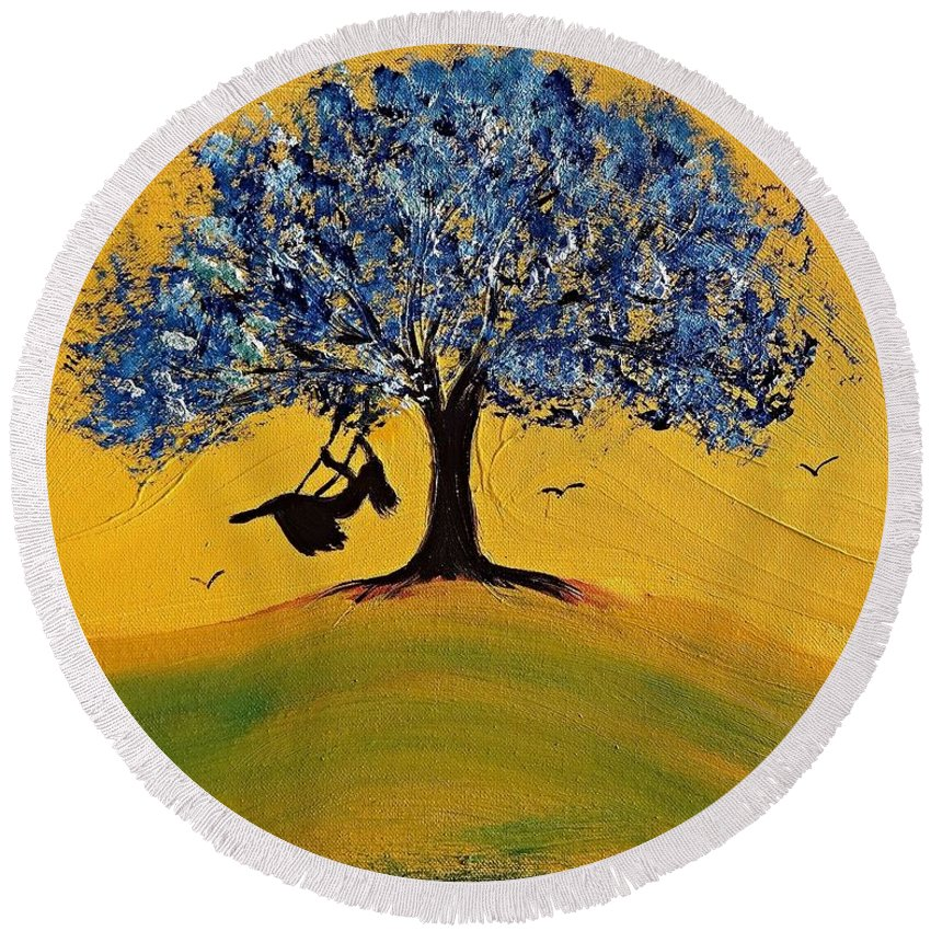 Childhood Dreams Acrylic Painting Round Beach Towel featuring the painting Childhood Dreams by Linda Waidelich