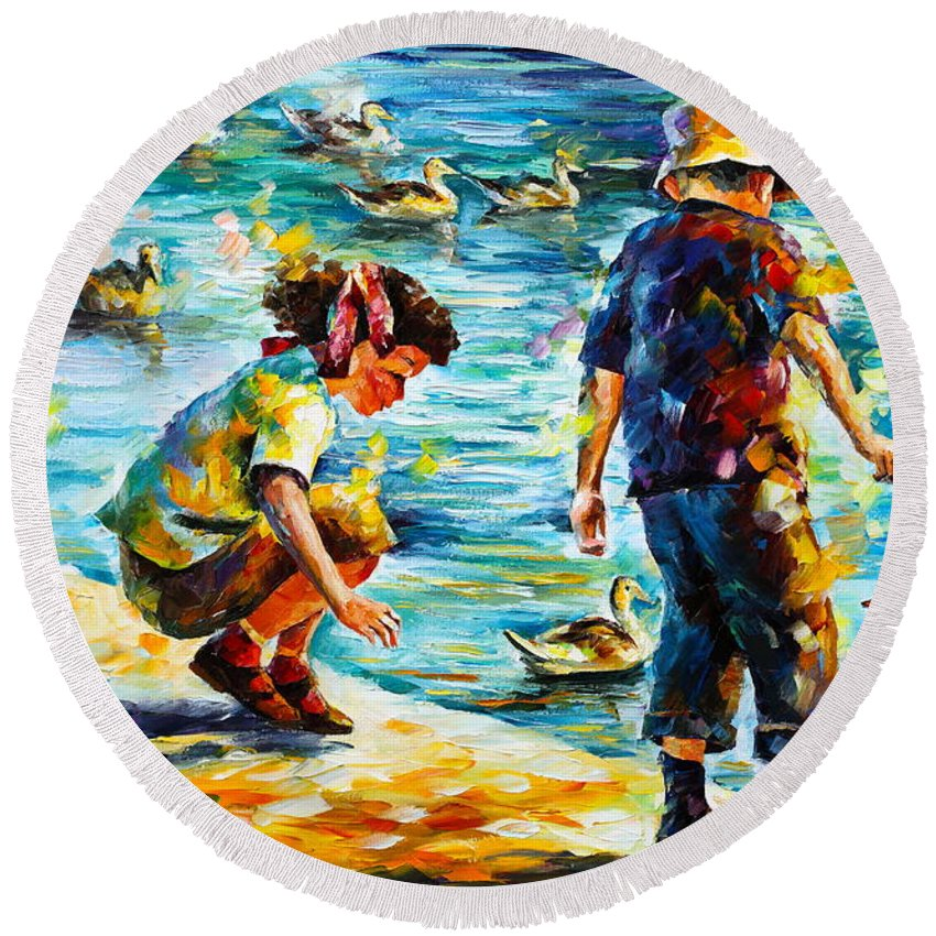 Girl Round Beach Towel featuring the painting Childhood by Leonid Afremov