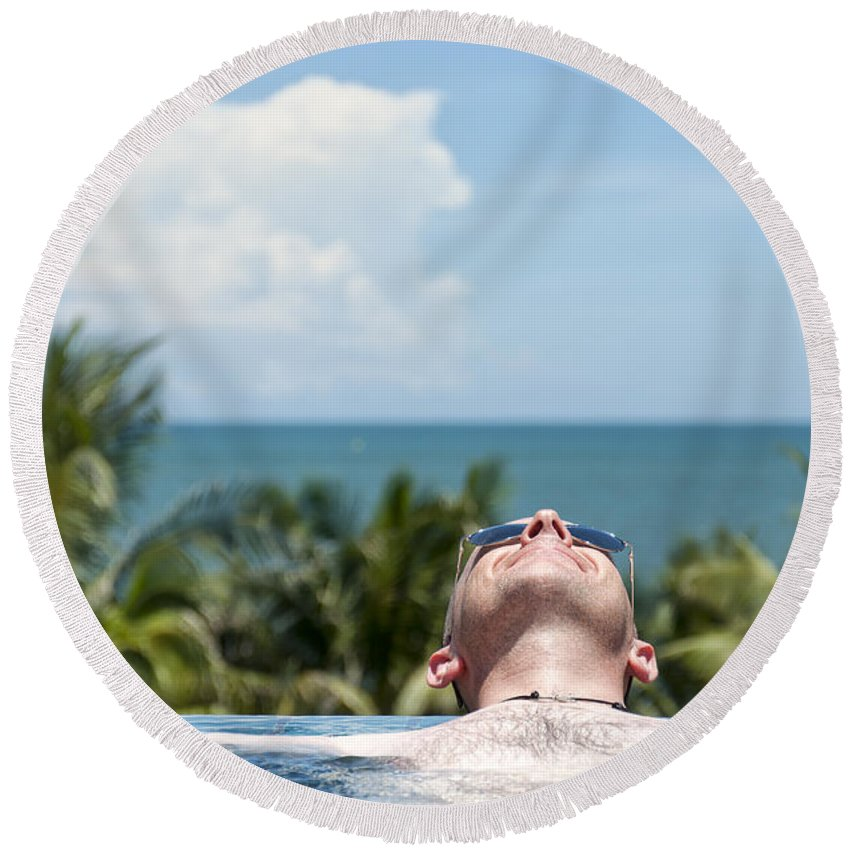 Sunglasses Round Beach Towel featuring the photograph Chilled In Paradise by Antony McAulay