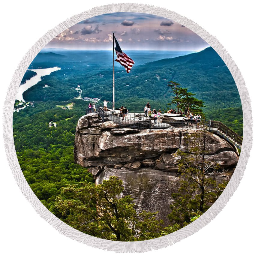 Colors Round Beach Towel featuring the photograph Chimney Rock At Lake Lure by Alex Grichenko