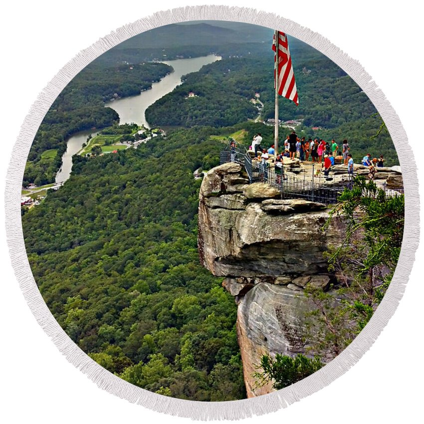 Colors Round Beach Towel featuring the photograph Chimney Rock Overlook by Alex Grichenko
