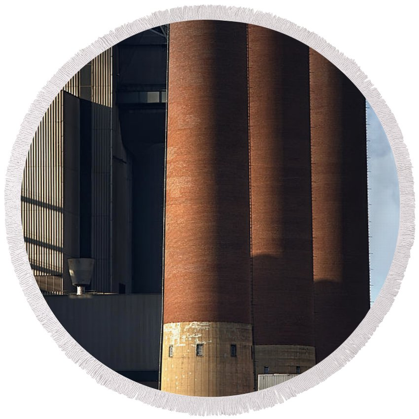 Landscape Round Beach Towel featuring the photograph Chimneys Of Coal Power Station. by Jan Brons