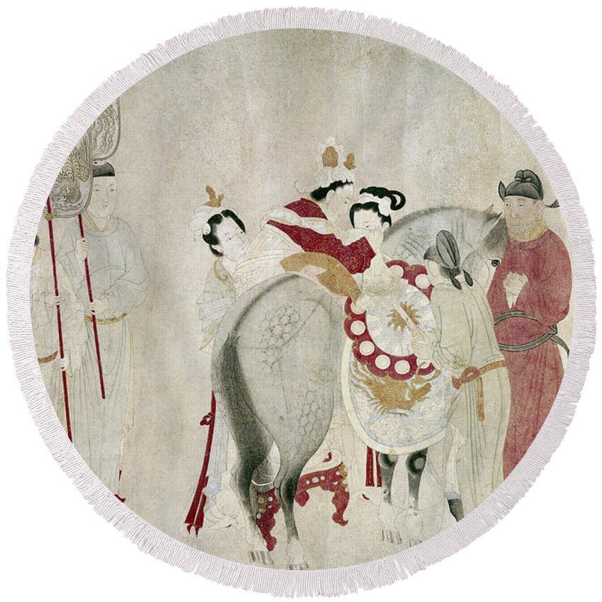 8th Century Round Beach Towel featuring the painting China Concubine & Horse by Granger