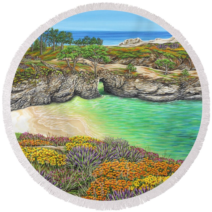 Ocean Round Beach Towel featuring the painting China Cove Paradise by Jane Girardot