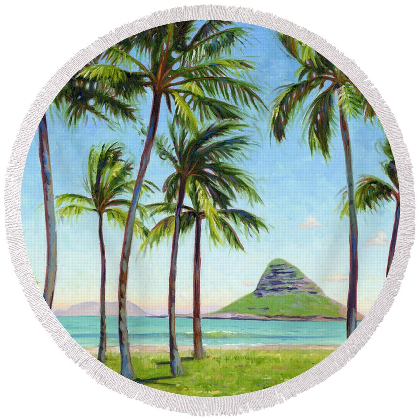 Chinamans Hat Round Beach Towel featuring the painting Chinamans Hat - Oahu by Steve Simon