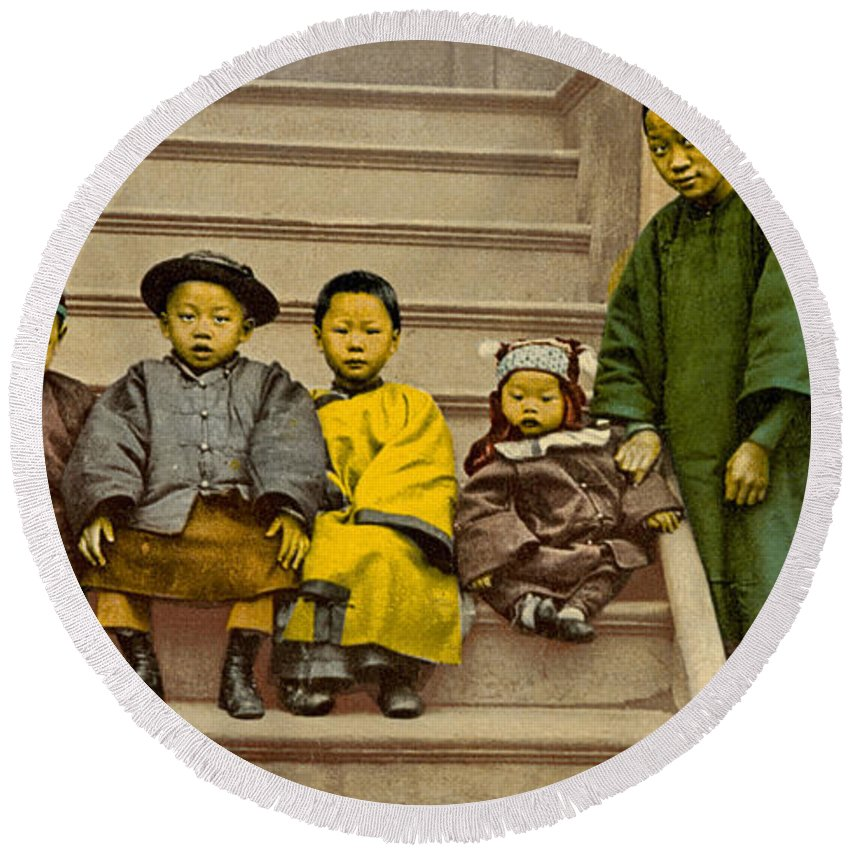 1900s Round Beach Towel featuring the photograph Chinatown Family by Underwood Archives