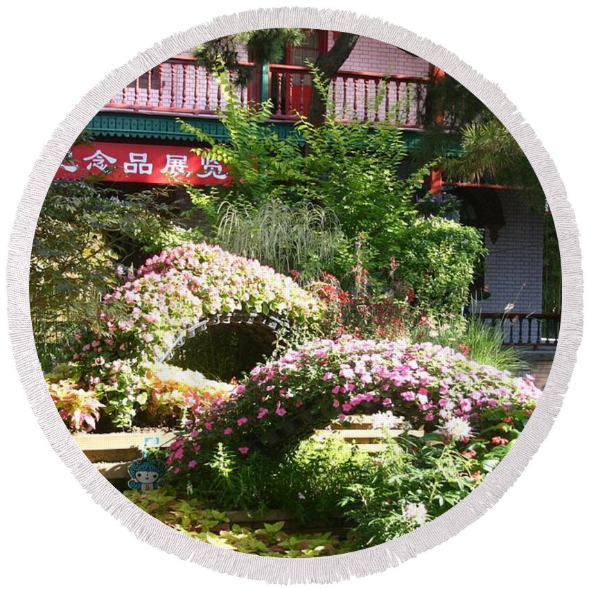 Chinese Garden Round Beach Towel featuring the photograph Chinese Garden by Barbie Corbett-Newmin