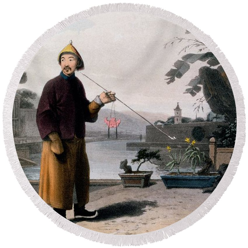 Male Round Beach Towel featuring the drawing Chinese Gentleman, From A Picturesque by Thomas & William Daniell