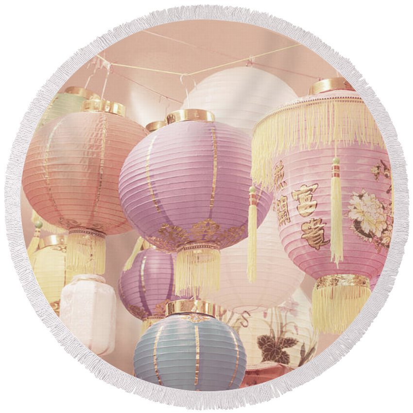 Romantic Round Beach Towel featuring the photograph Chinese Lanterns by Cindy Garber Iverson