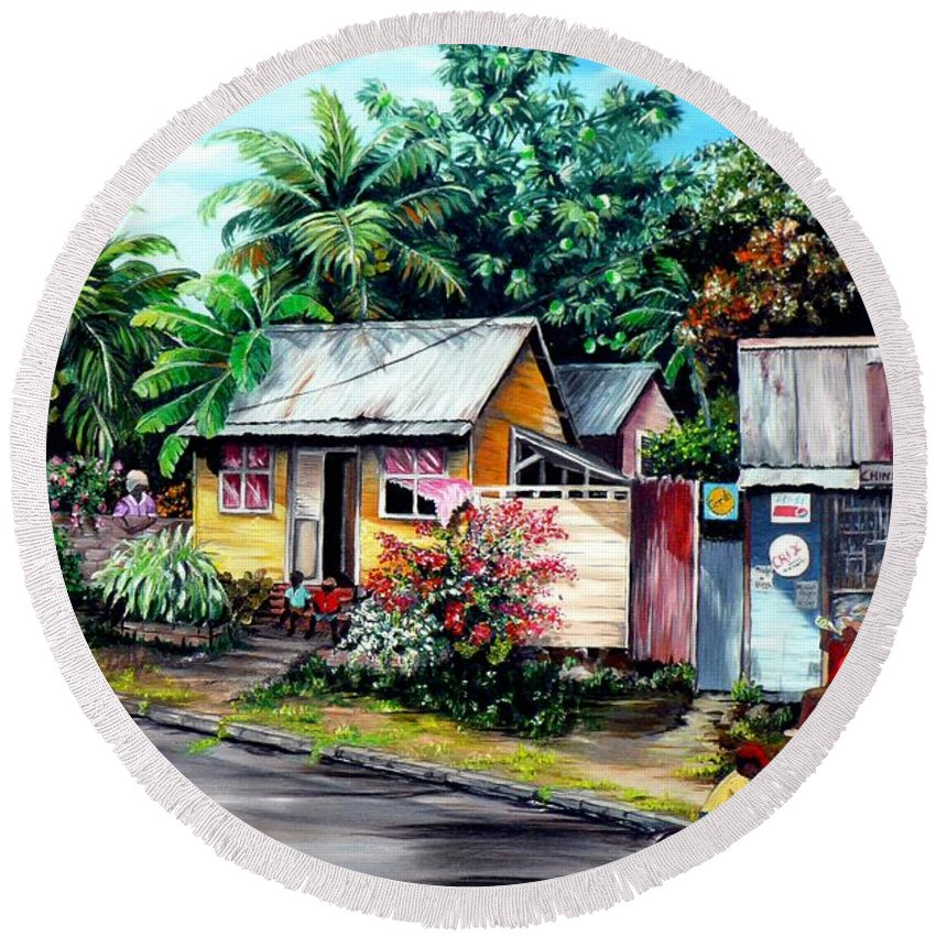 Landscape Painting Caribbean Painting Shop Trinidad Tobago Poinciana Painting Market Caribbean Market Painting Tropical Painting Round Beach Towel featuring the painting Chins Parlour   by Karin Dawn Kelshall- Best