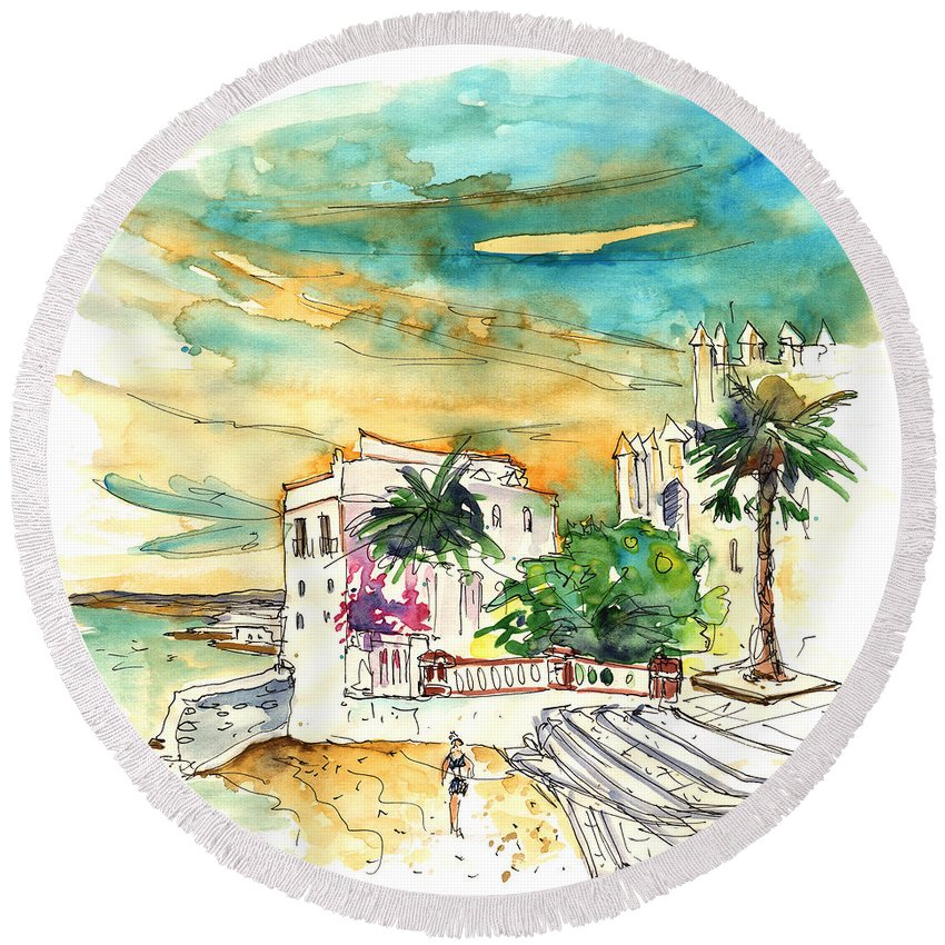 Travel Round Beach Towel featuring the painting Chipiona Spain 04 by Miki De Goodaboom