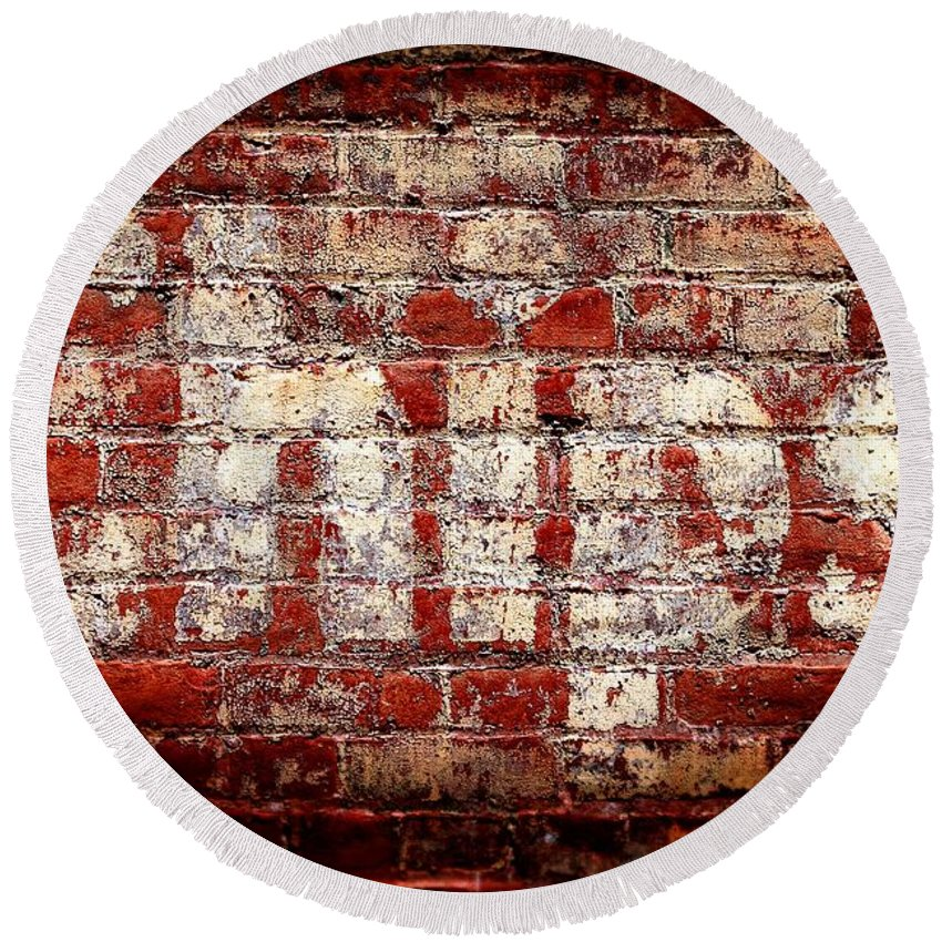 Brick Round Beach Towel featuring the photograph Chips Brick Wall by Henrik Lehnerer