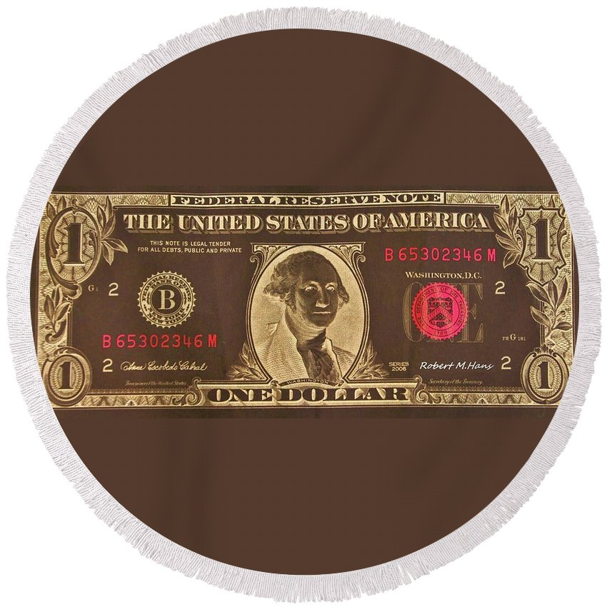 One Round Beach Towel featuring the photograph Chocolate Dollar One by Rob Hans