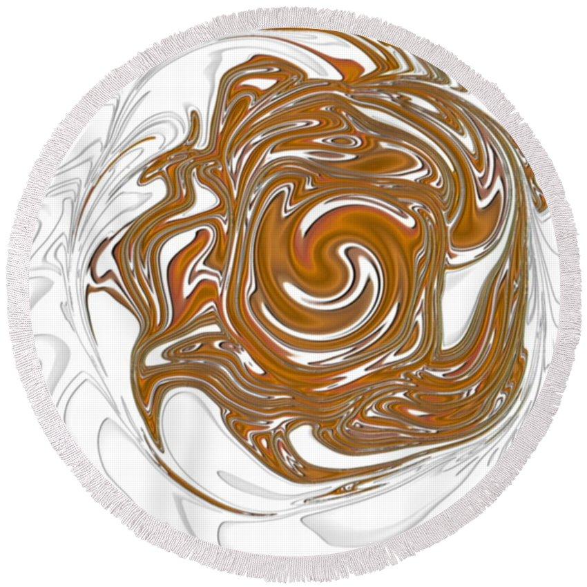 Swirl Round Beach Towel featuring the digital art Chocolate Milk by Ron Hedges