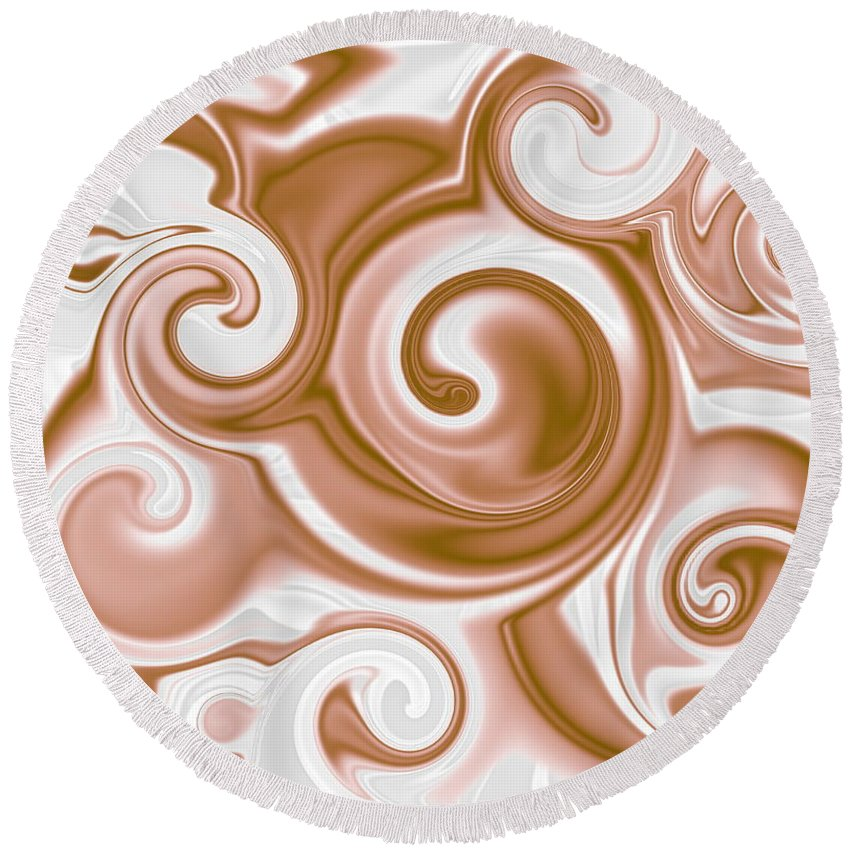 Chocolate Round Beach Towel featuring the digital art Chocolate Milk Take 2 by Ron Hedges