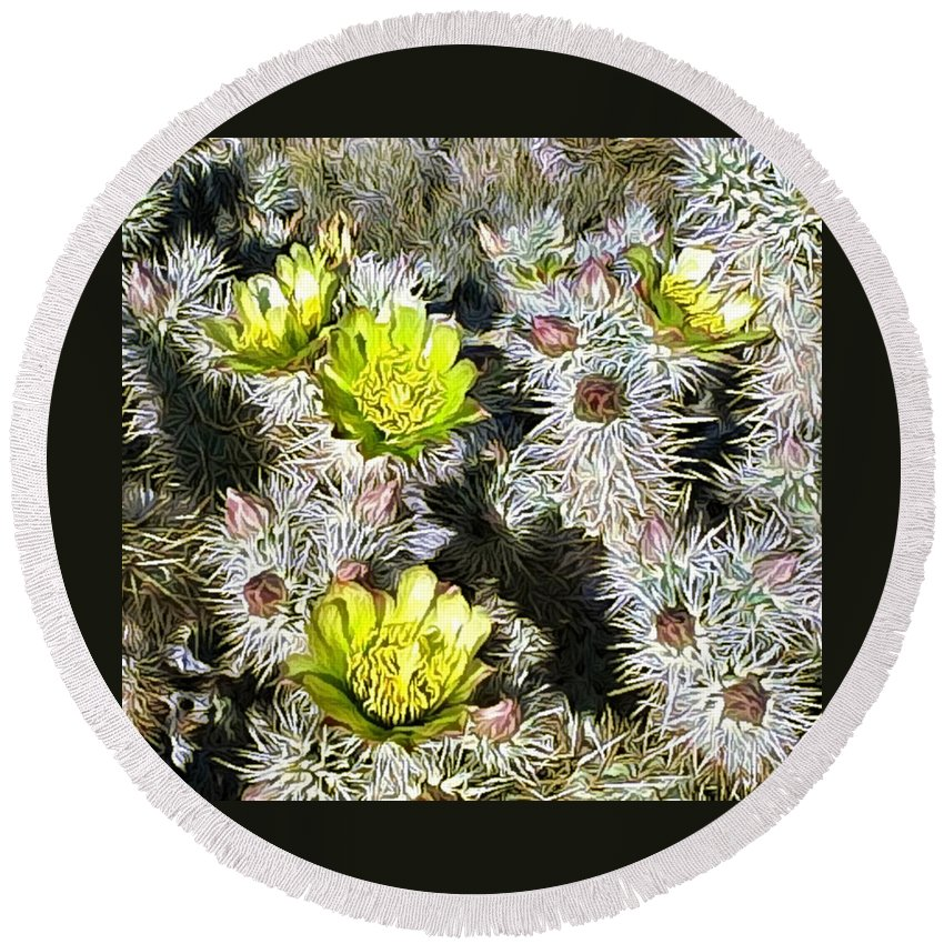 Cactus Round Beach Towel featuring the digital art Cholla Flowers by Snake Jagger