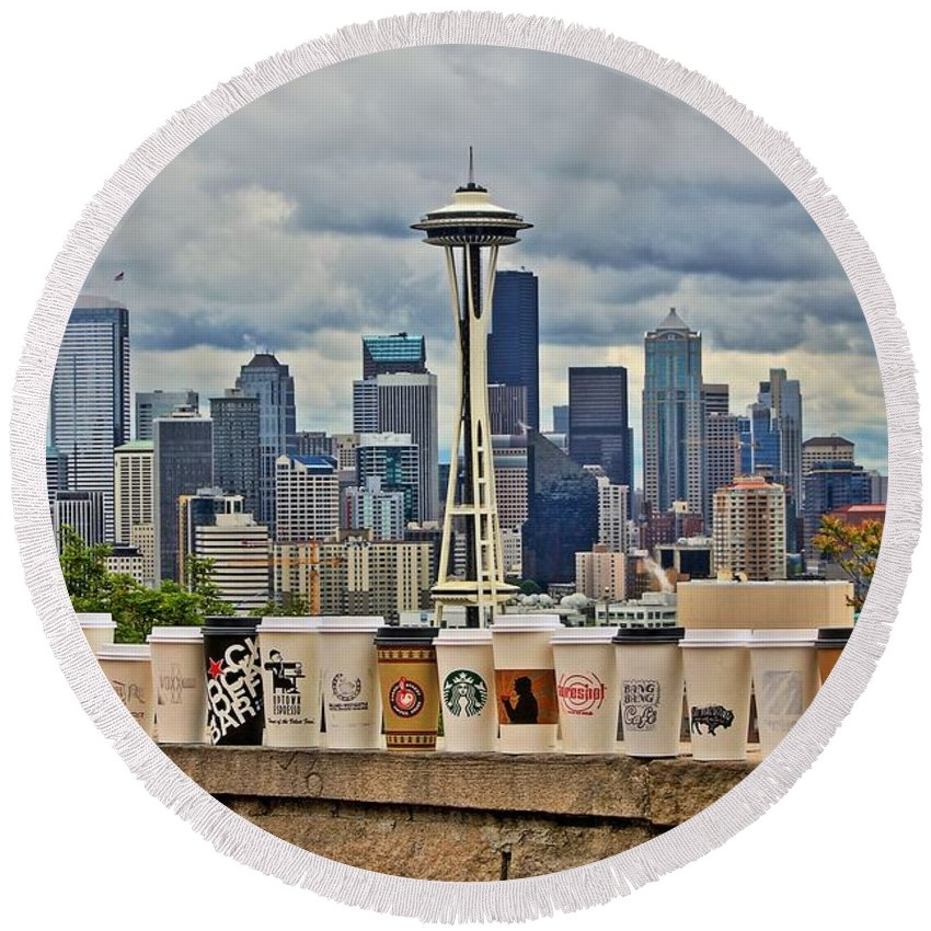 Seattle Round Beach Towel featuring the photograph Choose Your Brew by Benjamin Yeager