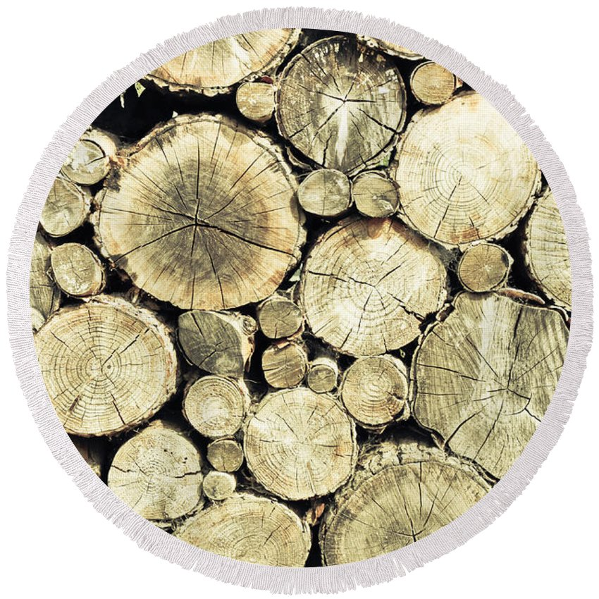 Aged Round Beach Towel featuring the photograph Chopped Wood by Tom Gowanlock