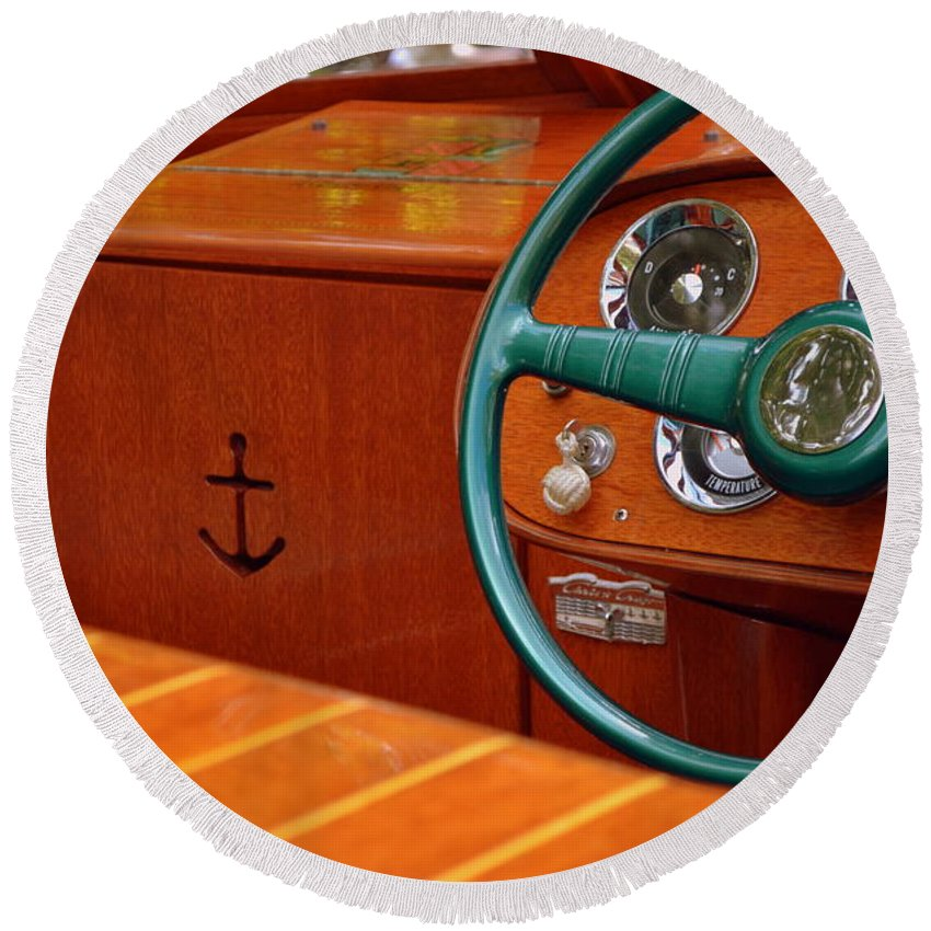 Classic Boat Round Beach Towel featuring the photograph Chris Craft Cockpit by Michelle Calkins