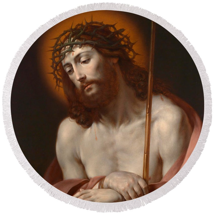 Son Of God Paintings Round Beach Towel featuring the painting Christ As Man Of Sorrows by Anonymous