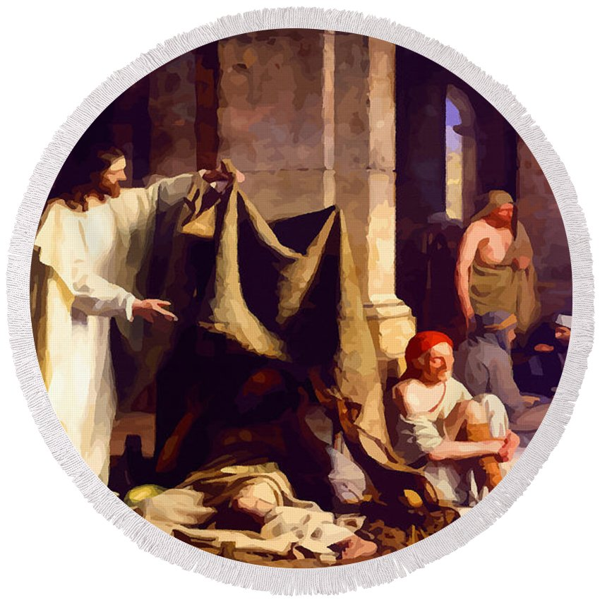Retouched Round Beach Towel featuring the digital art Christ Healing The Sick by Don Kuing