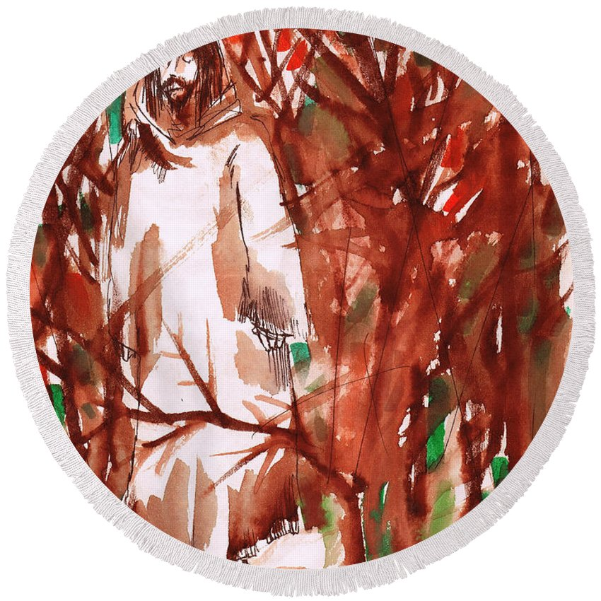 Christ In The Garden Round Beach Towel featuring the painting Christ in the Forest by Seth Weaver