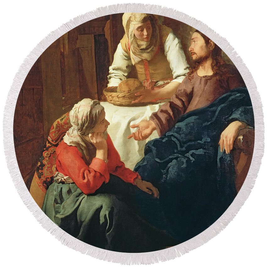 Vermeer Round Beach Towel featuring the painting Christ In The House Of Martha And Mary by Jan Vermeer