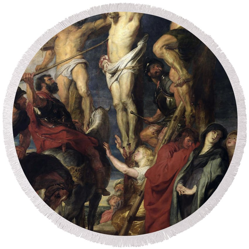 Peter Paul Rubens Round Beach Towel featuring the painting Christ On The Cross Between The Two Thieves by Peter Paul Rubens