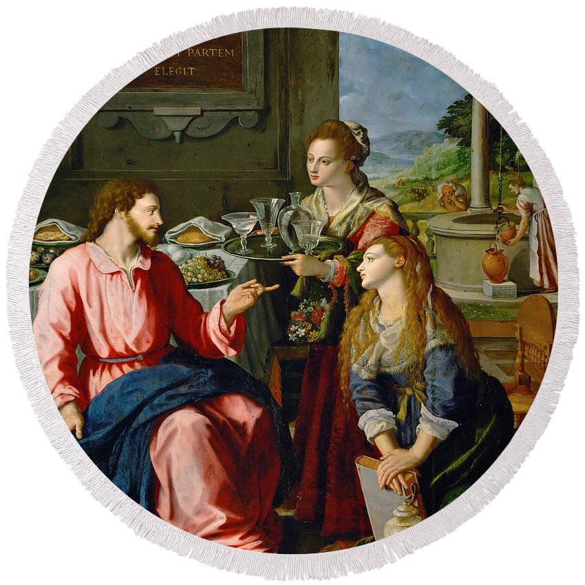 Alessandro Alloril Christ With Mary And Martha Round Beach Towel featuring the painting Christ With Mary And Martha by Alessandro Allori