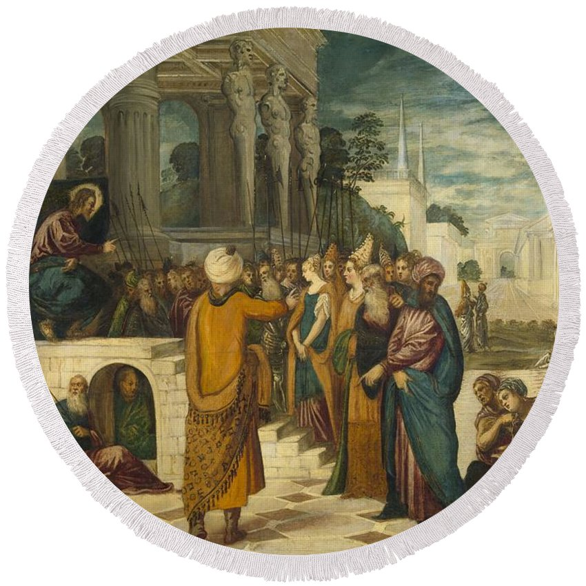 1550 Round Beach Towel featuring the painting Christ With The Adulterous Woman by Tintoretto