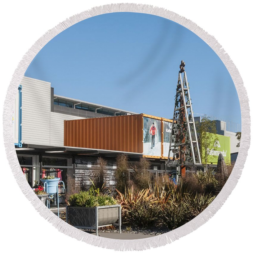 Christchurch New Zealand Earthquake Restart Container Store Stores Shop Shops Containers Structure Structures Architecture City Cities Cityscape Cityscapes Round Beach Towel featuring the photograph Christchurch Restart by Bob Phillips