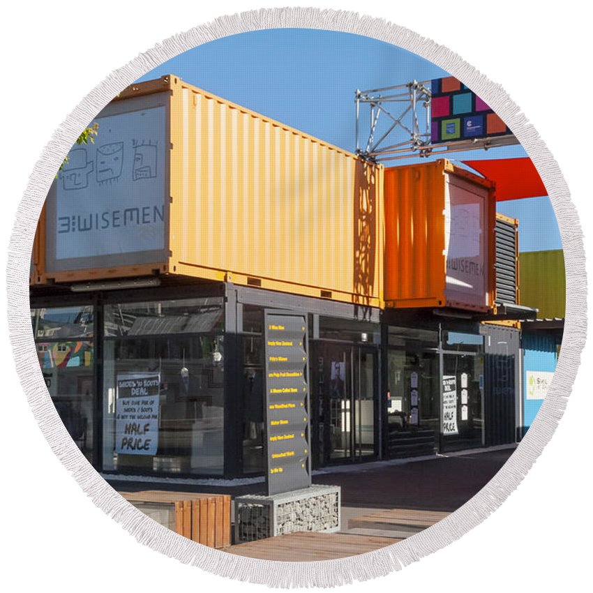 Christchurch New Zealand Earthquake Restart Container Store Stores Shop Shops Containers Structure Structures Architecture City Cities Cityscape Cityscapes Round Beach Towel featuring the photograph Christchurch Restart Containers by Bob Phillips