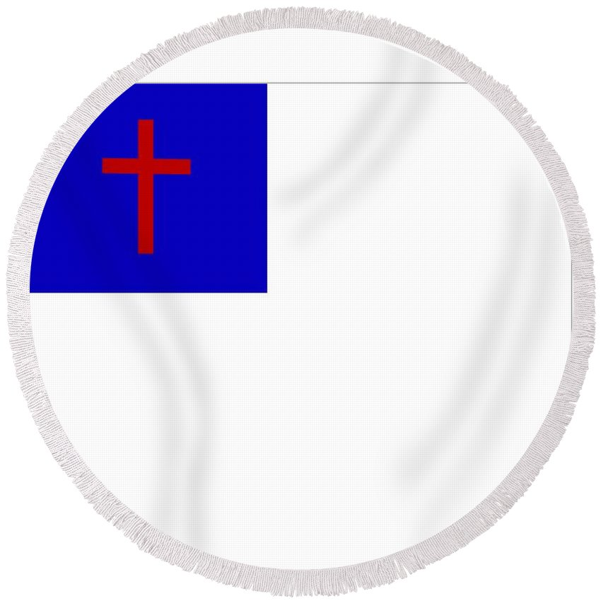 Christian Round Beach Towel featuring the digital art Christian Flag by Frederick Holiday