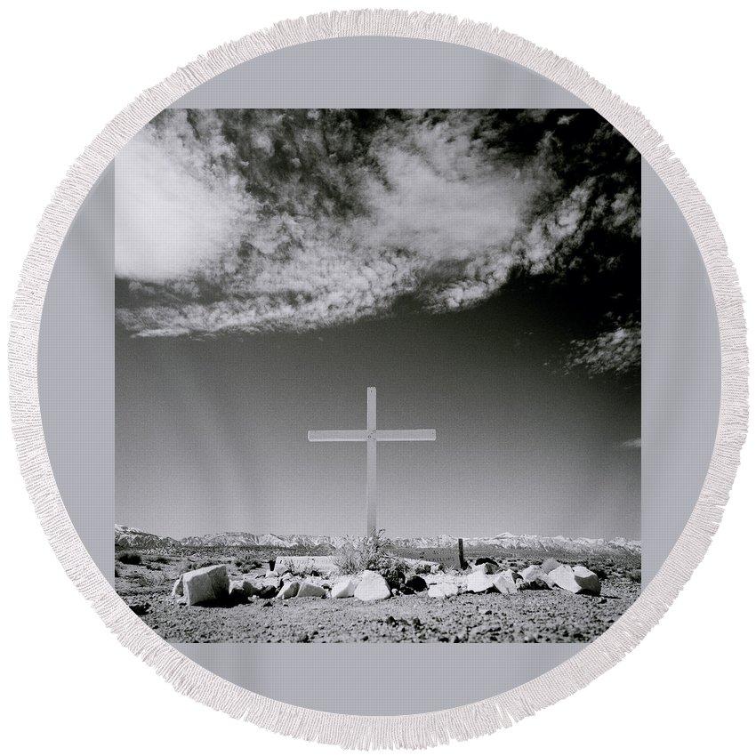 Christian Round Beach Towel featuring the photograph Christian Grave by Shaun Higson
