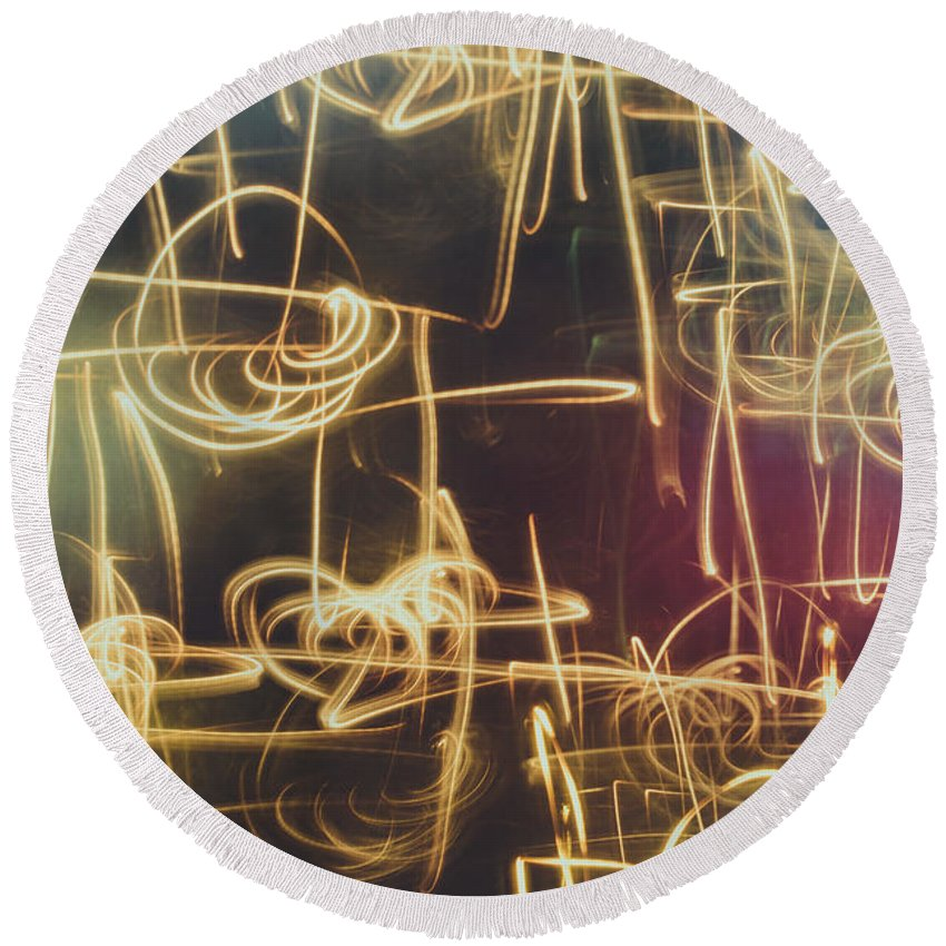 Abstract Round Beach Towel featuring the photograph Christmas Abstract V by Marco Oliveira