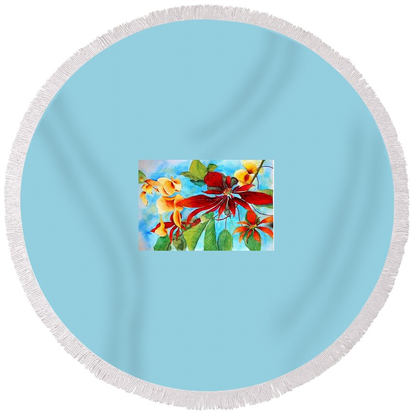Watercolor Round Beach Towel featuring the painting Christmas All Year Long by Debbie Lewis