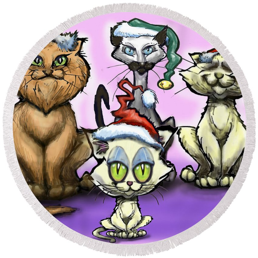 Christmas Round Beach Towel featuring the painting Christmas Cats by Kevin Middleton