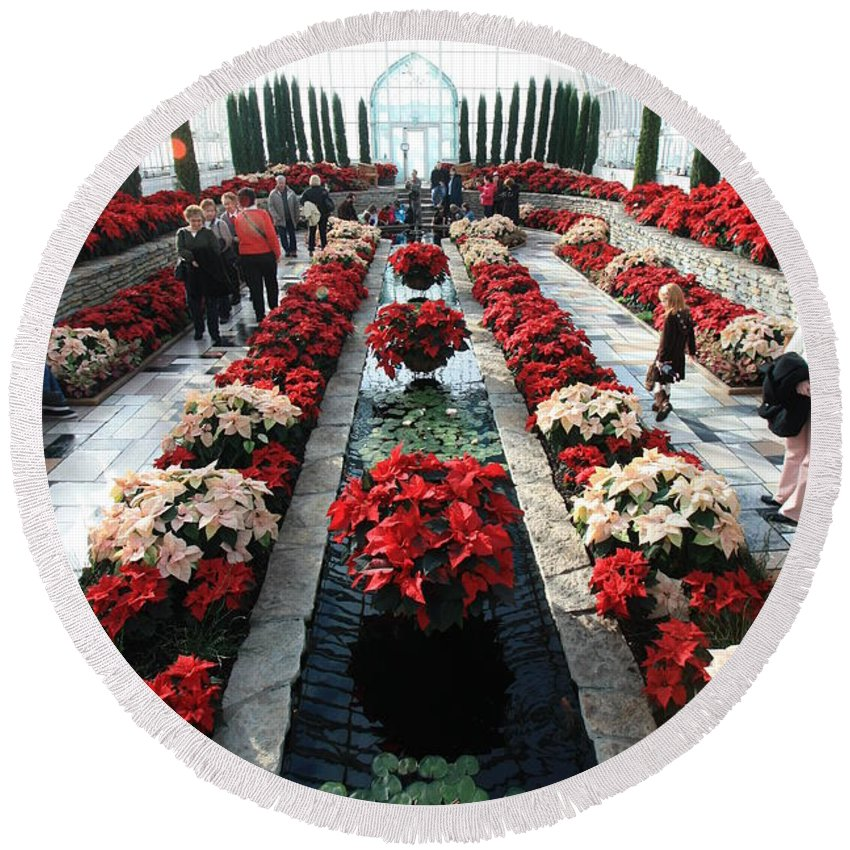 Como Conservatory Round Beach Towel featuring the photograph Christmas Color by Amanda Stadther