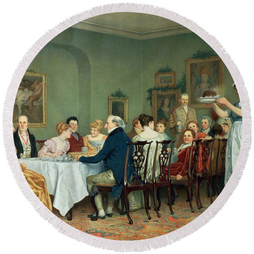 Dining Room Round Beach Towel featuring the painting Christmas Comes But Once A Year by Charles Green
