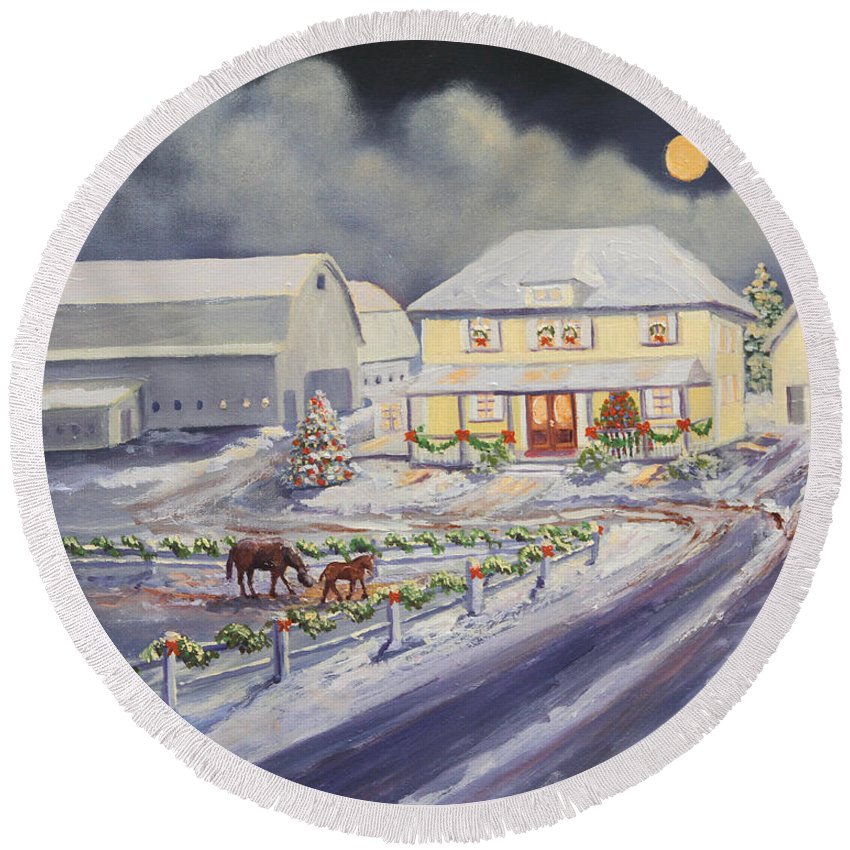 Farm Round Beach Towel featuring the painting Christmas Corral by Lorraine Vatcher