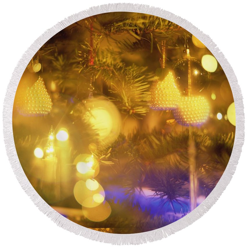 Light Round Beach Towel featuring the photograph Christmas Decorations by Robert Hallmann